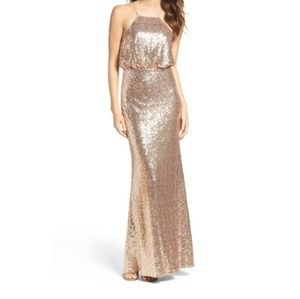 Lulu's Gold Sequin Maxi Dress